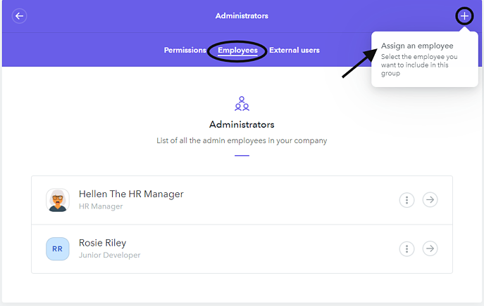 Assign an employee admin