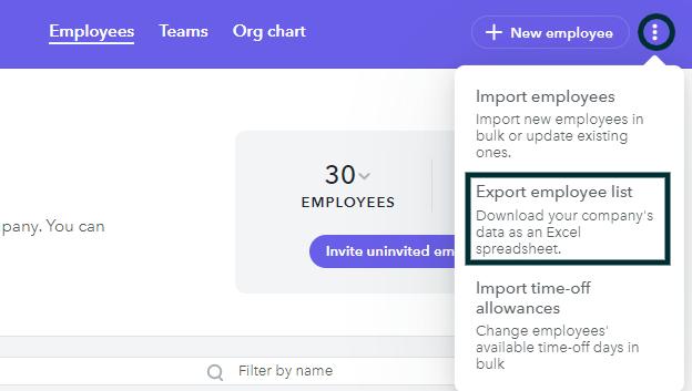 Export employee list