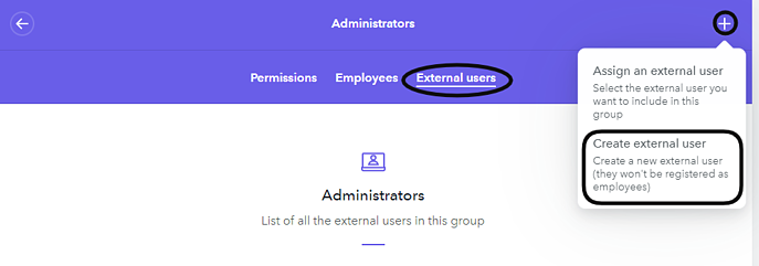 External user admin
