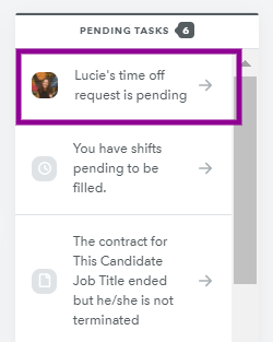 Pending time off request