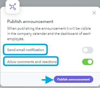 Publish announcements