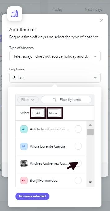 Select employees